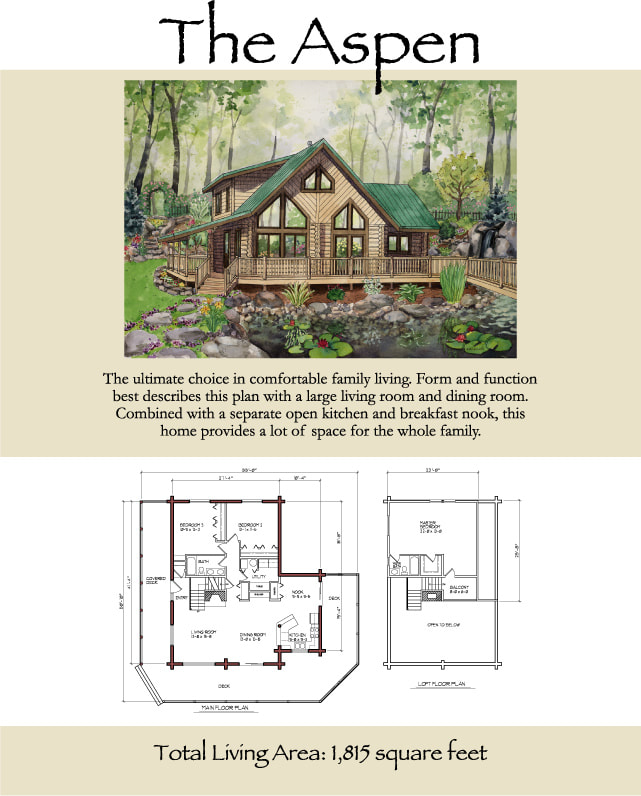 The Aspen Log Home Floor Plan