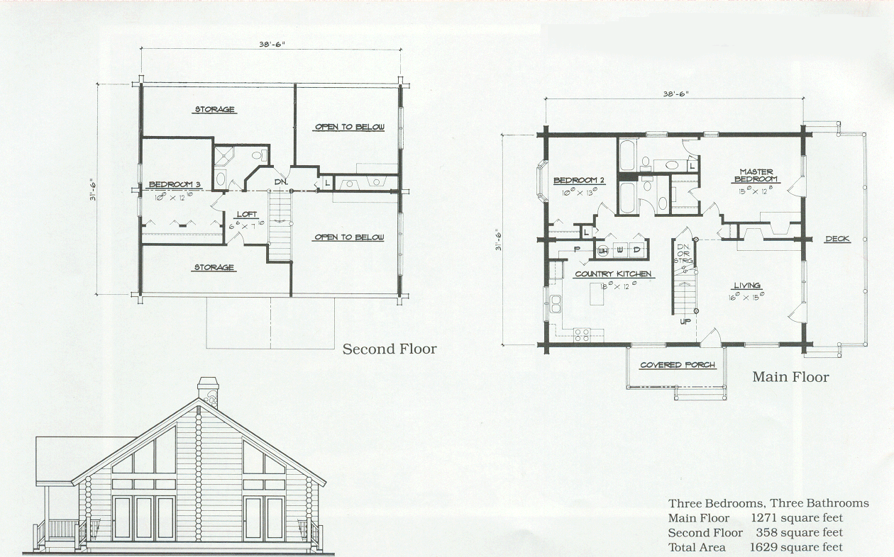 The Marriott Log Home Floor Plan