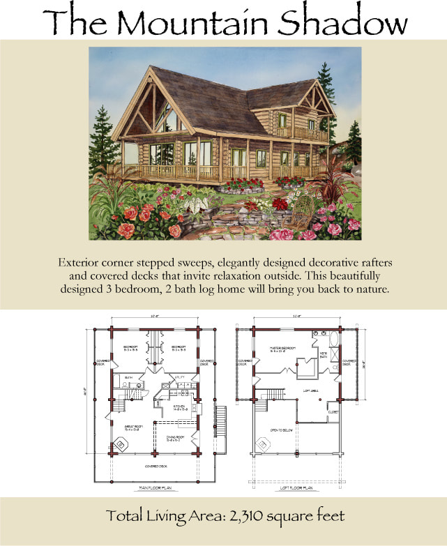 The Mountain Shadow Log Home construction plans