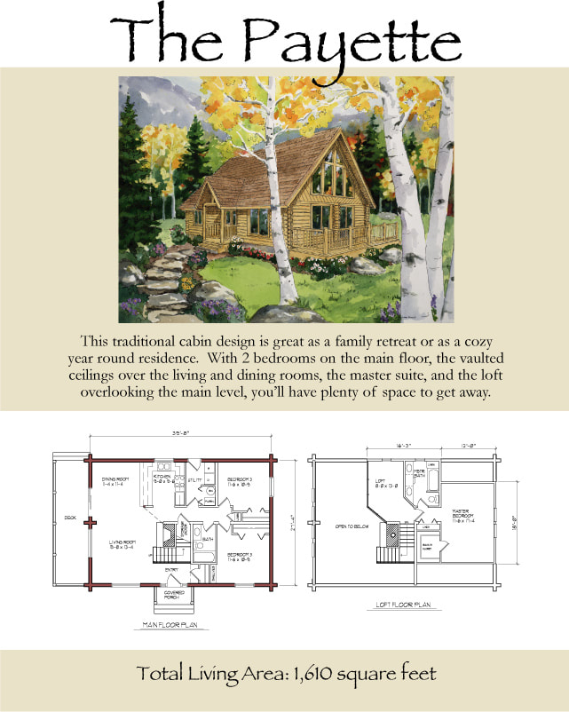 The Payette Log Home Floorplan