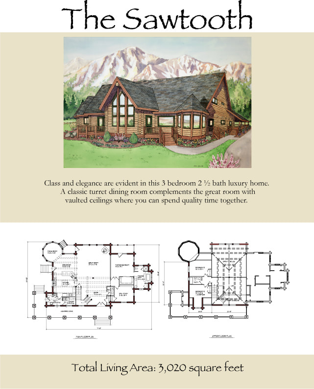 The Sawtooth elegant log home floor plan