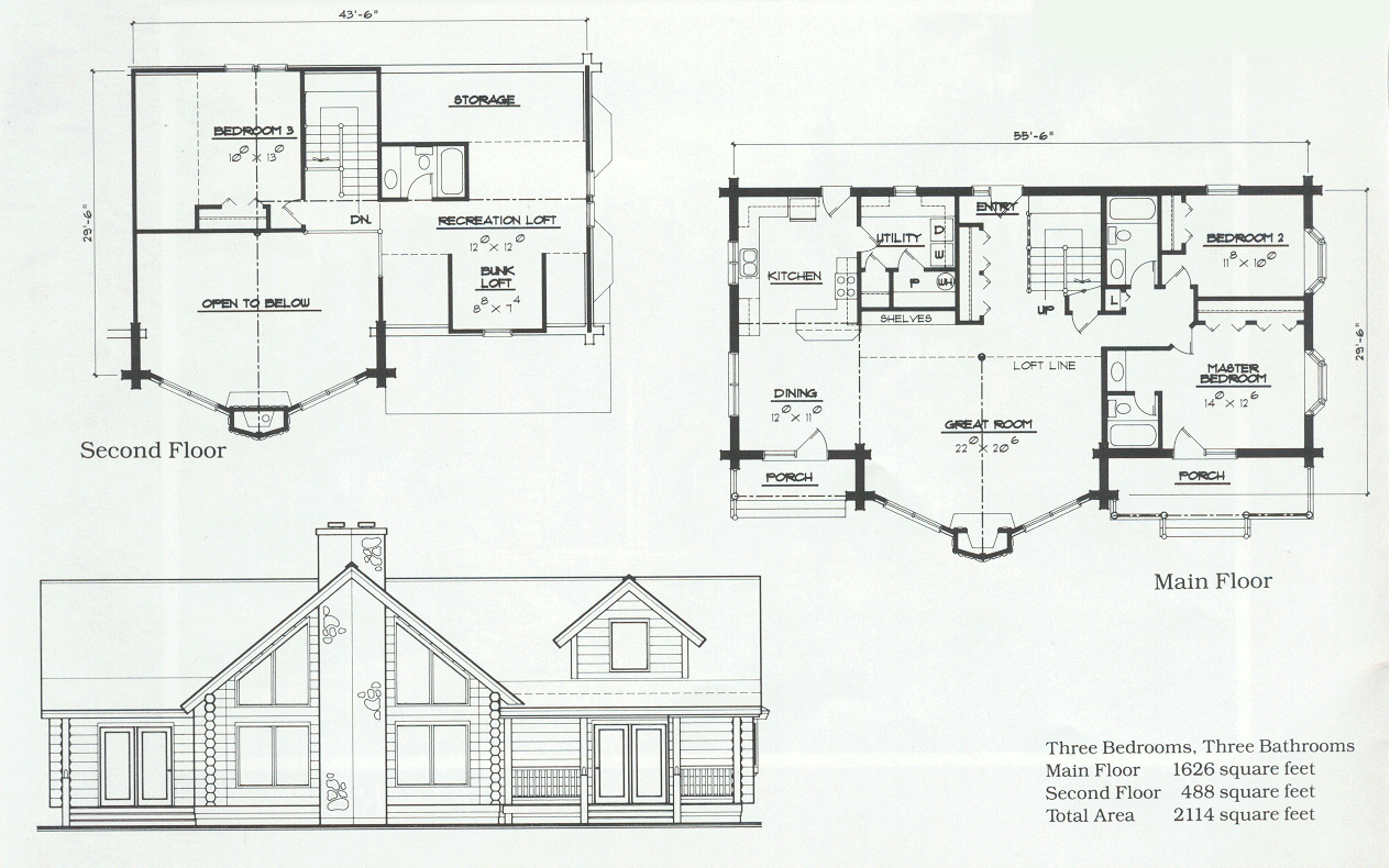 The Stathes Log Cabin Floor Plan