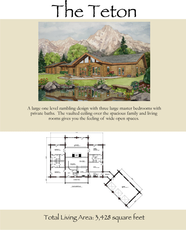 The Teton Log Cabin rambler floor plan