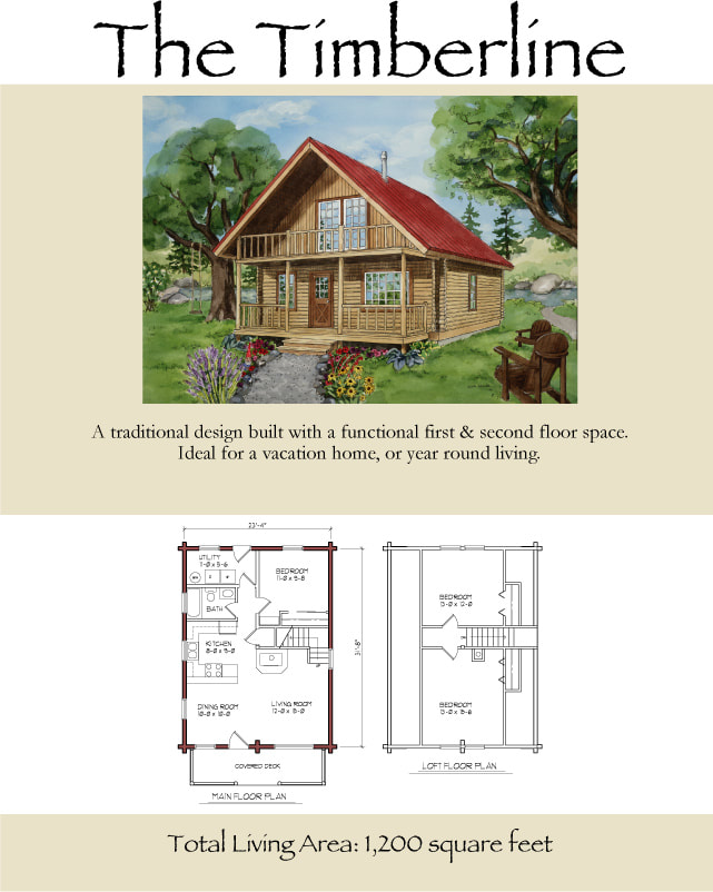 The Timberline Log Cabin rustic floorplans