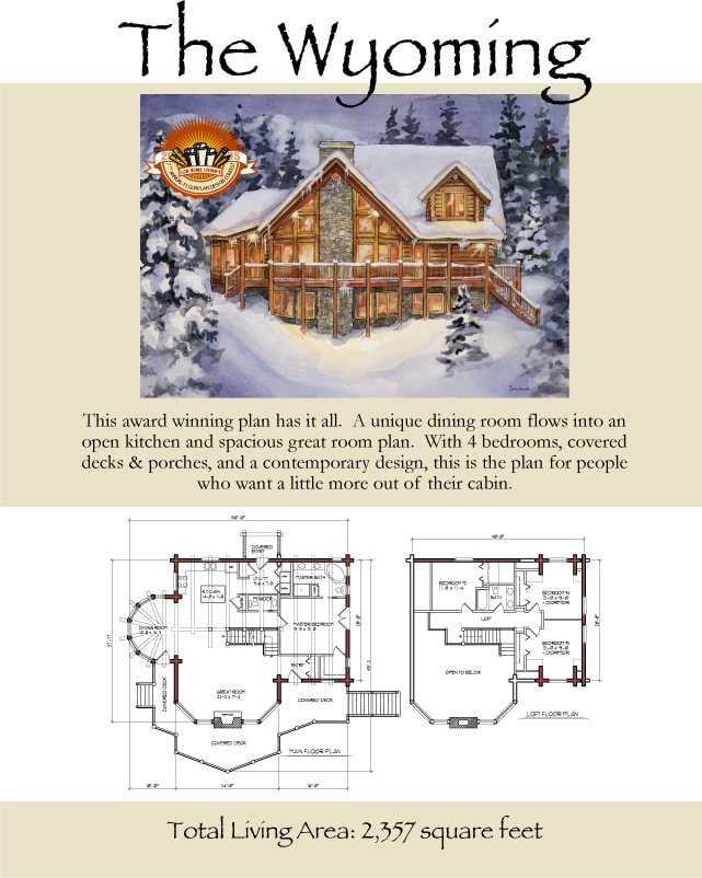 The Wyoming log home with big windows floor plan